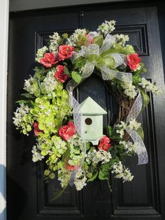 Spring or Summer Door Wreath Door Wreath by hollyhillwreaths