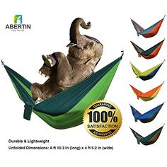 Abertin® Lightweight Portable Parachute Hammocks Nylon Travel Hiking Camping Hammock for Backpacking 2 Person Double Hammock Ropes & Steel Carabiners Included *** READ REVIEW @ http://www.usefulcampingideas.com/store/abertin-lightweight-portable-parachute-hammocks-nylon-travel-hiking-camping-hammock-for-backpacking-2-person-double-hammock-ropes-steel-carabiners-included/?c=8583