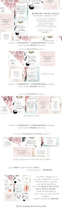 Social Media Templates Pink Rose Gold Social Branding for Banner Instagram, Instagram Blog, Instagram Posts, Social Media Branding, Social Media Design, Social Media Marketing, Facebook Marketing, Social Media Graphics, Web Design