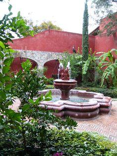 fountain view of spanish courtyard