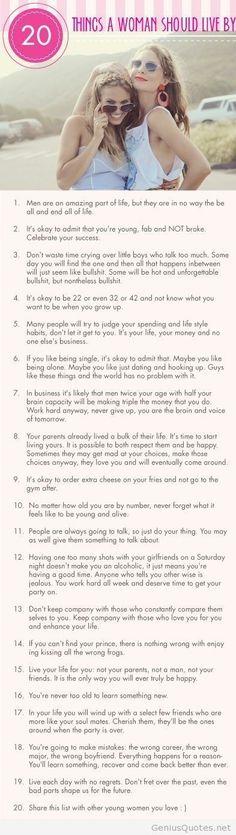 20 Reglas de vida que la mujer debe tener en cuenta