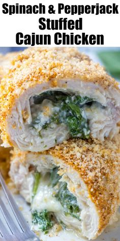 Cajun Chicken Stuffed with Spinach & Pepper Jack Cheese - 4 Sons 'R' Us Lunch Recipes, Great Recipes, Dinner Recipes, Favorite Recipes, Healthy Recipes, Healthy Foods, Cajun Recipes, Chicken Recipes, Cooking Recipes