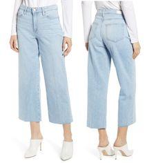 PAIGE Jeans | Nwt Paige Nellie High Waist Raw Hem Culotte Jeans | Poshmark Paige Jeans, Mom Jeans, Retail Price, High Waist, Stylists, Polka Dots, Tags, Denim, Closet