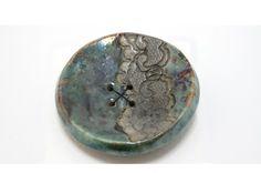 Bouton turquoise en céramique raku artisanal