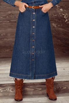 kuaybe-gider-koyu-mavi-kisa-etek Jean Skirt Outfits, Blouse And Skirt, Denim Skirt, Dress Skirt, Tall Girl Fashion, Denim Fashion, Churidhar Designs, Looks Jeans, Casual Fashion Trends
