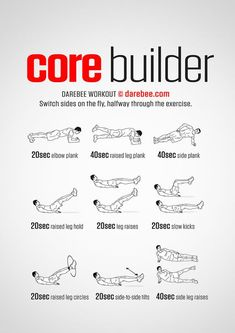 Core Builder Workout from Darebee At Home Core Workout, Workout Routine For Men, Gym Workout Tips, Fitness Workouts, Pilates Workout, At Home Workouts, Fitness Tips, Men Core Workout, Core Workouts For Men