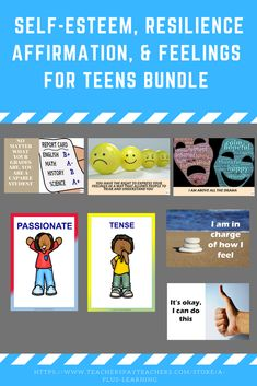 Self- Esteem, Feelings, Keep Calm & Resilience Flash Cards For Teens Bundle - How To Build Confidence Building Self Esteem, Confidence Building, Self Esteem Affirmations, How To Express Feelings, Positive Self Talk, You Are Blessed, Affirmation Cards, Coping Skills, My Teacher