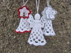 Crochet angels Set of Three Christmas ornament by InKasTrifles
