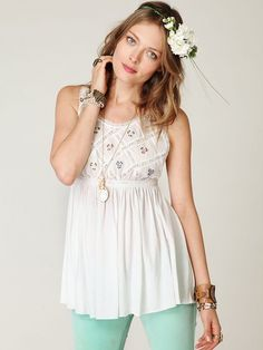 Free People FP New Romantics Lattice Babydoll Top at Free People Clothing Boutique