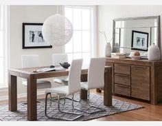 HAMBURG - Solid wood dining table 71'' - Grey