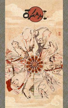 Okami: The Gods by *zeldacw on deviantART. I love Okami! Amaterasu, Illustration Art, Illustrations, Art Asiatique, Video Game Art, Video Games, Japanese Art, Fantasy Art, Cool Art