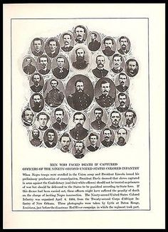 Officers of Colored Infantry Death Sentence Union Army Civil War Print