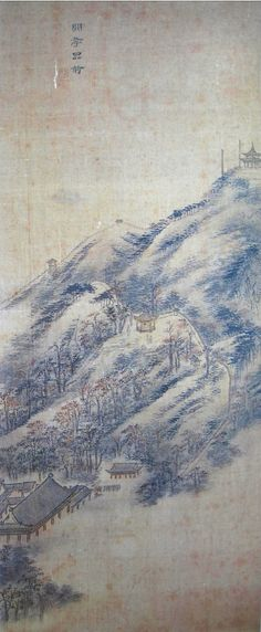 (Korea) 한정품국 from 화성8경,1796 by Danwon Kim Hong-do (1745-1806). color on silk. Seoul University Museum.