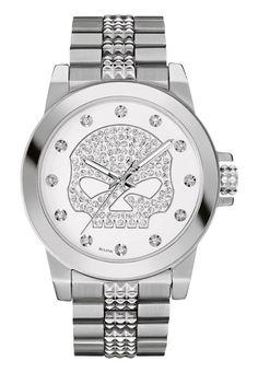 Harley-Davidson Women's Bulova Watch, Crystal Willie G. Skull Stainless 76L176