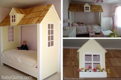 How gorgeous is this cozy little playhouse bed!