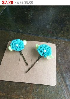 Online Sale Light blue Prima fabric flowers with pearl by EMTWTT