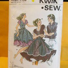 Kwik Sew Pattern 1159 - Square Dance Dress Rockabilly Western Style - Sizes 6-12 #KwikSew