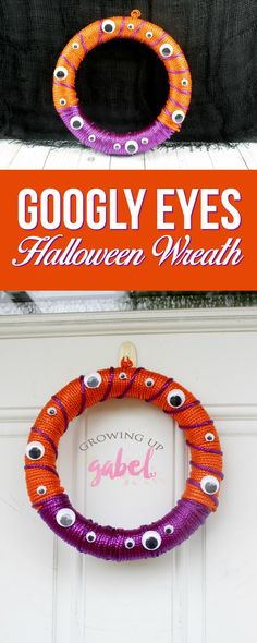 Pin this adorable DIY Halloween googly eyes wreath made with dollar store craft supplies! #halloweencrafts #halloweenwreath