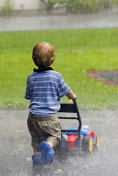 Rain or shine, Liam's ready to mow.
