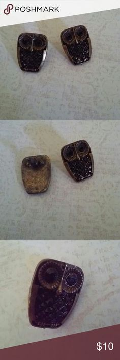 """Jeweled Owl Earrings--Pierced This is a darling pair of pierced earrings, seldom worn.  The metal is a brushed brass and the jewels are a faceted black glass. They measure 1"""" long, 5/8"""" wide. unknown Jewelry Earrings"""