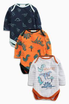 Kaufen Sie Orange Dino Long sleeved Bodysuit Three Pack (3 Monate – 2 Jahre) heute online bei Next: Deutschland