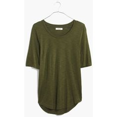 MADEWELL Anthem Curved-Hem Tee ($30) ❤ liked on Polyvore featuring tops, t-shirts, camouflage green, draped t shirt, drapey tee, rayon tops, elbow sleeve tee and camo tee
