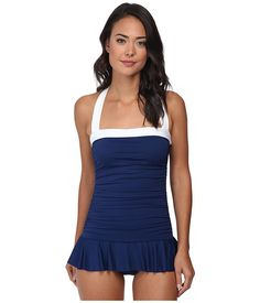 LAUREN by Ralph Lauren Bel Aire Shirred Bandeau Skirted Mio Slimming Fit One-Piece Bright Indigo - Zappos.com Free Shipping BOTH Ways