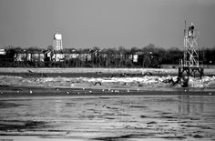 Delaware River Frozen Over in Andalusia, PA