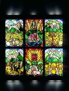 Friedrich Adler, Twelve Tribes Window, Freiburg im Breisgau, ca. 1919 (detail), produced by Eduard Stritt, for an agricultural training (Hachshara) grstained-glass, leaded, 6 two-part windows, 53.5x81 each, Tel Aviv Museum of Art