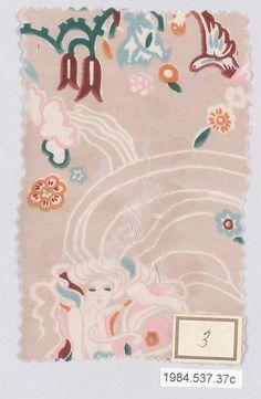 Textile sample Gustav Klimt (Austrian, Baumgarten 1862–1918 Vienna) Manufacturer: Wiener Werkstätte Date: ca. 1920 Classification: Textiles-Printed Credit Line: Gift of Joanne F. du Pont and John F. Pleasants, in memory of Enos Rogers Pleasants, III, 1984