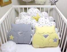 Baby cot bumpers,clouds and owls cushions by LittleFoxForBaby, EUR Baby Cot Bumper, Baby Crib Bumpers, Baby Cribs, Baby Bedding, Owl Cushion, Cloud Cushion, Nursery Room, Kids Bedroom, Nursery Decor