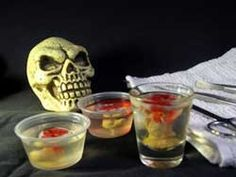 "Halloween Jello Shots.  (Lots of recipes and ideas for jello:  ""Brain Hemorrhage"", ""Eyeballs in Aspic"", Candy Corn, Apple Cider, Black Cherry, Drunken Pumpkin)"