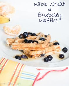 Whole Wheat & Blueberry Waffles | infinebalance.com #recipe #breakfast. Whole grain breakfast!