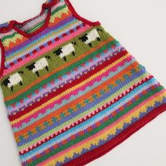 Red 'sheep' Pinafore - Size 3 months - Hand knitted Knitting Charts, Baby Knitting Patterns, Knitting Designs, Hand Knitting, Red Sheep, Yellow Belt, Baby Sweaters, 3 Months, Crochet Baby