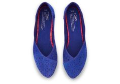 Blue Perforated Suede Perforated Suede Women's Jutti Flats TOMS