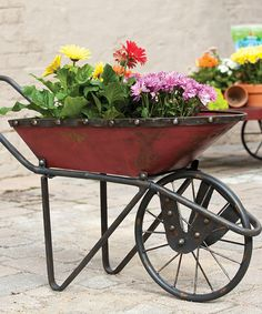 Look at this #zulilyfind! Antique Red Metal Wheelbarrow Planter #zulilyfinds