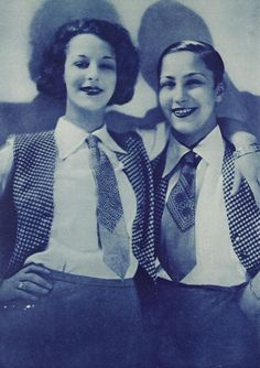 Weimar comedic duo Beby and Lilly, 1928 vintage fashion style women vest tie dress shirt pants found photo print ad 20s 30s