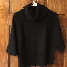 Precious black turtleneck poncho sweater-Small Beautiful details in this sweater.  Looks great with jeans and black shoes. Sweaters Shrugs & Ponchos