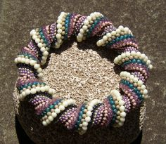 Pearly Mauve Teal Beaded Infinite Spiral by LisaPierceJewelry