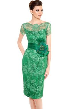 Sheath Knee-length Homecoming Dress in Green Lace with Flower, Quality Unique Homecoming Dresses I Dress, Lace Dress, Party Dress, Mother Of Groom Dresses, Short Dresses, Formal Dresses, Occasion Dresses, Green Dress, Green Lace