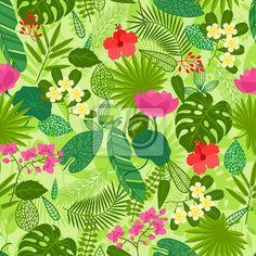 Vinilo Modelo inconsútil con las plantas tropicales, hojas y flores.