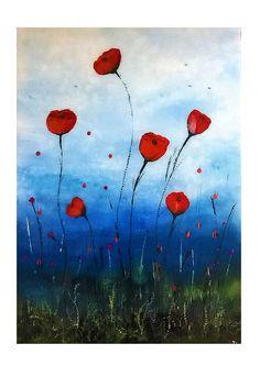 Dancing Poppies ART PRINT. Original Poppy art print. WALL ART #Impressionist