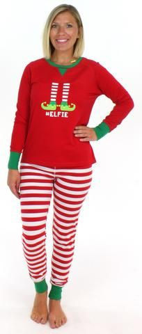 Christmas Family Matching Red Striped Elf Pajama PJ Sets 036ad4a75
