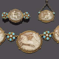 An early 19th century gold, shell cameo, turquoise and seed pearl necklace, pendant, brooch and earring suite, Sold for £3,600 inc. premium
