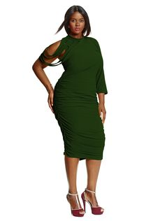 """""""Dahlia"""" Ruched Dress -Hunter Green - What's New -   By Monif C"""