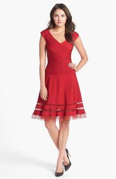 Tadashi Shoji V-Neck Tulle Trim Fit & Flare Dress (Regular & Petite)   Nordstrom