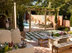 Tuscan Outdoor Rooms | ... large earthen pots complement the tuscan look creamy concrete pavers