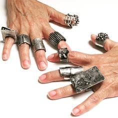 Sterling silver rings, all hand-fabricated and oxidized