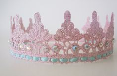Birthday Crown Pink Lace Crown Halo Headband and Photography Prop - Newborn, Baby, Child, Toddler