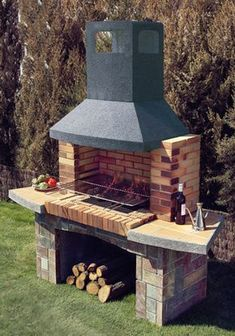 This is another artistic creation of the patio BBQ grill design that is worth to talk about! Into this grill set, a small area has been set for the BBQ fireplace whereas the downside area of the set has been comprised with the place for the settlement of Outdoor Barbeque, Outdoor Oven, Barbecue Grill, Outdoor Cooking, Grill Design, Patio Design, Backyard Designs, Backyard Kitchen, Backyard Patio